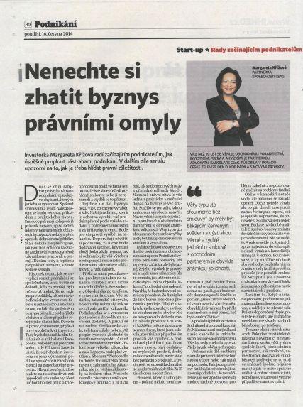 Margareta Hospodarske noviny June 16 2014